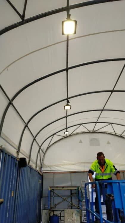 lighting installation commercial boat shed
